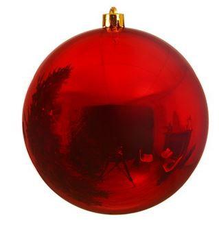 Boule plastique uni brillant rouge noël ¤20cm