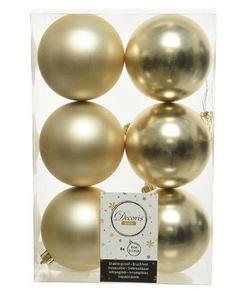 Boules plastique uni brill-mat champagne x6