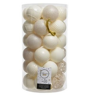 Boules plast mix Blanc laine x37
