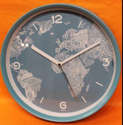 Horloge chronos mappemonde