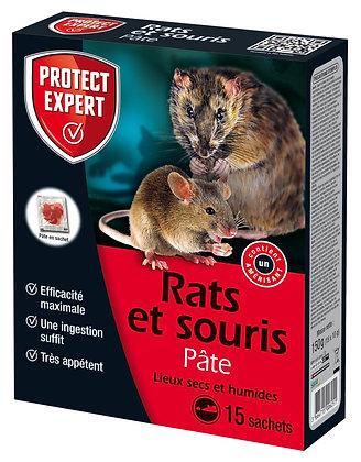 Rats et souris Pâte lieux secs et humides 15 sachets