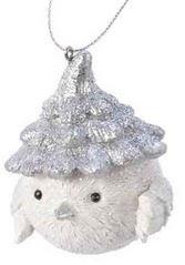 Oiseau poly a/bonnet /susp  bonnet argent