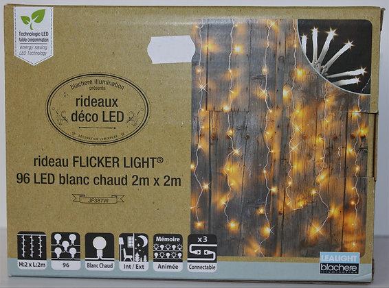 Guirlande rideau flicker light blanc chaud 2x2m