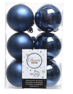 Boules plastique uni brill-mat bleu nuit x12