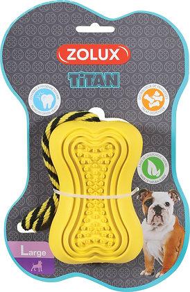 Jouet caoutchouc et corde Titan Large jaune