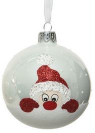 Boule deco vr figurine père Noel blanc d'hiver
