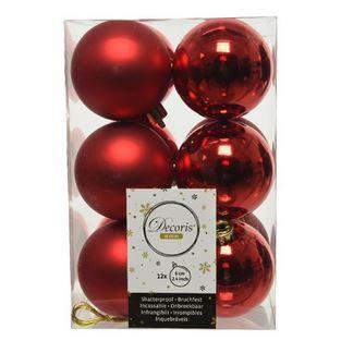 Boules plast uni brill mat rouge x12