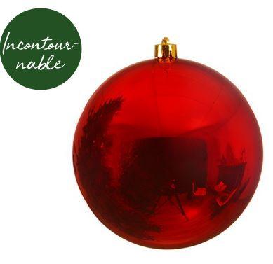Boule plastique uni brillant rouge Noël