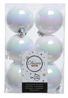 Boules plastique uni brill blanc/irisé x12