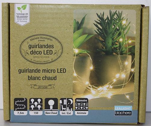 Guirlande micro led blanc chaud 7.5m