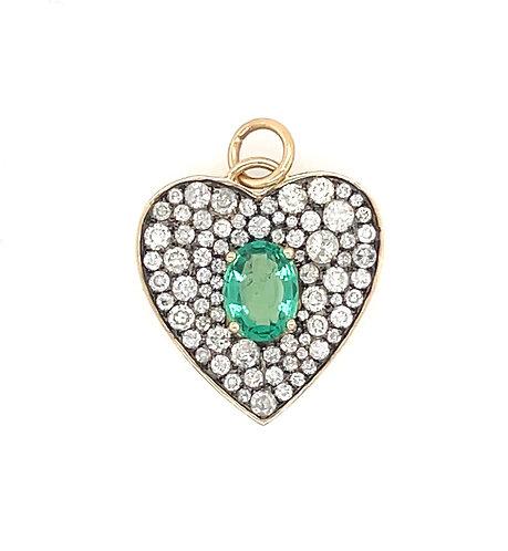 Mosaic Diamond Heart with Emerald