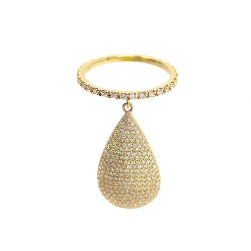 Hanging Diamond Pave Pear Ring