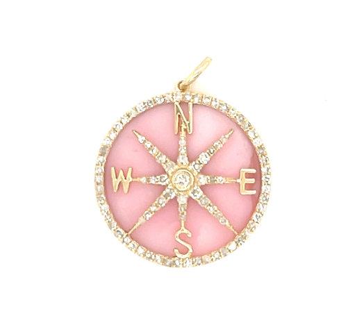 Pink Opal Compass Charm