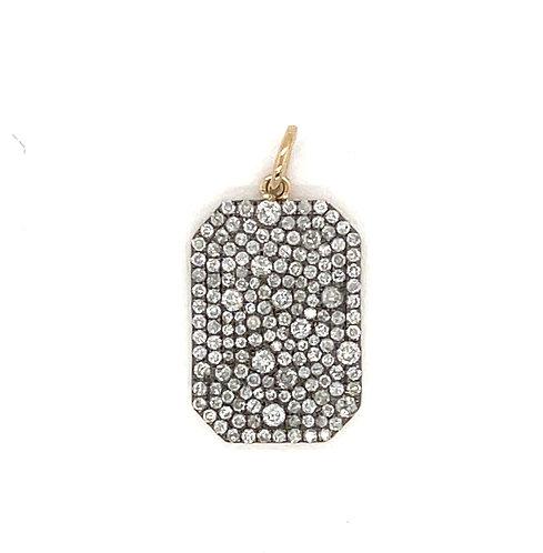 Mosaic Diamond Pave Dog Tag