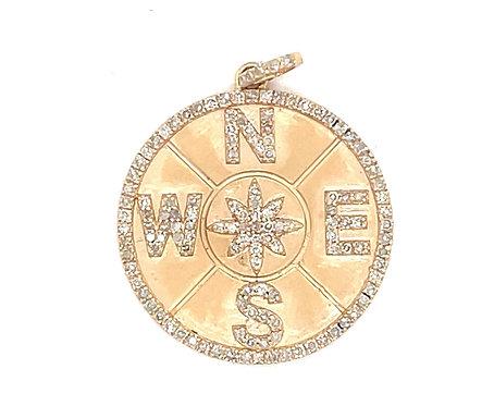 Gold Diamond Compass Charm