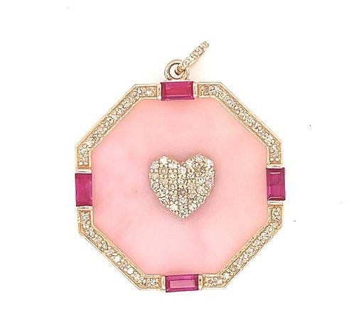 Pink Opal & Ruby Heart Charm