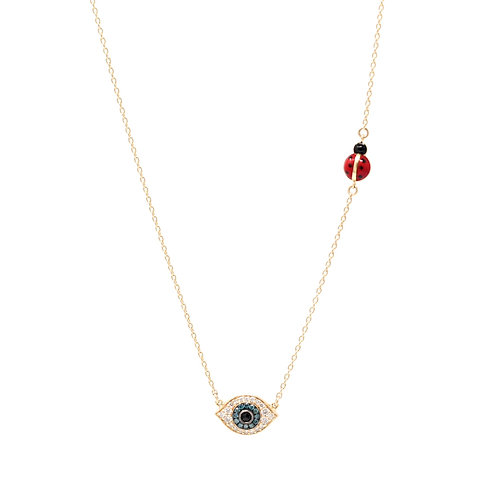Evil Eye and Ladybug Necklace