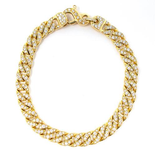 Flat Diamond Curb Chain Bracelet