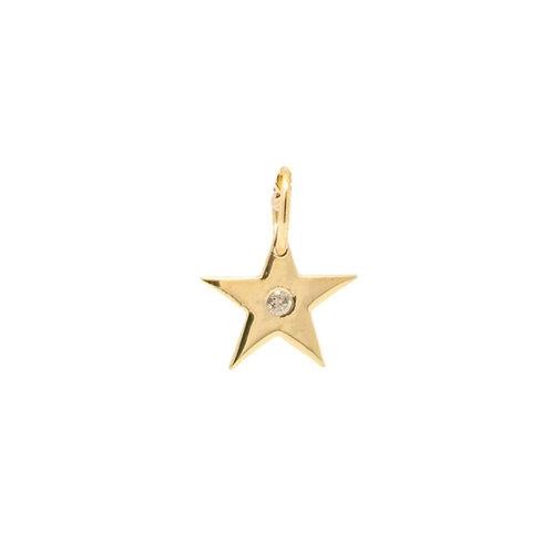 Mini Gold Star with Diamond Charm