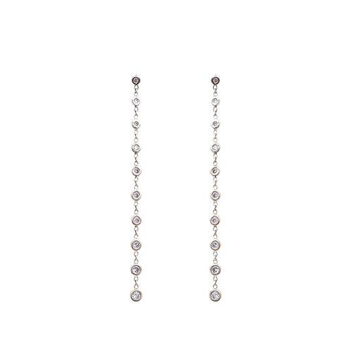 Ten Diamond Bezel Chain Earrings
