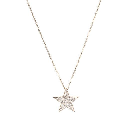 Large Diamond Pave Star Necklace