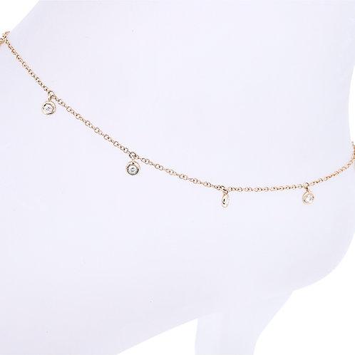 Hanging Diamond Bezel Anklet