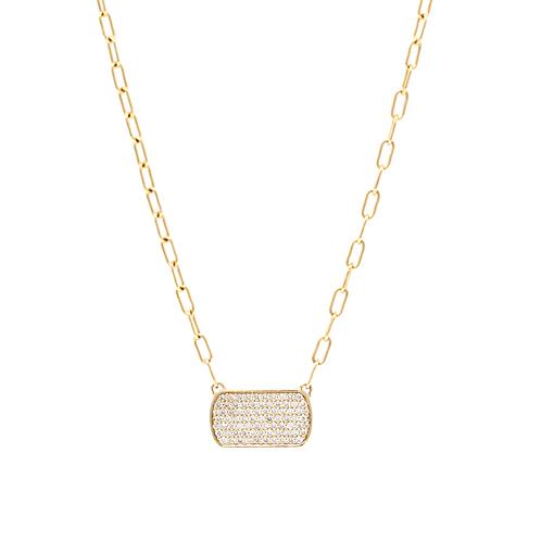 Diamond Pave Tag Necklace