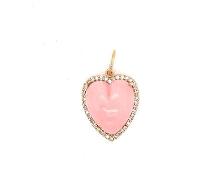 Pink Opal Heart Charm