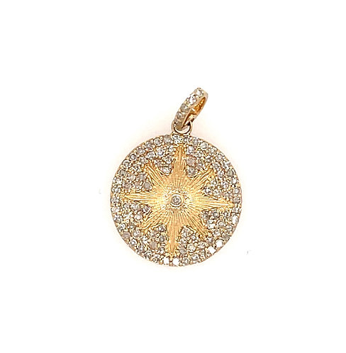 Pave Diamond Disk with 8 Point Star