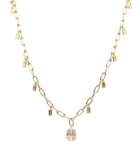 Illusion Diamond Baguette Hanging Necklace