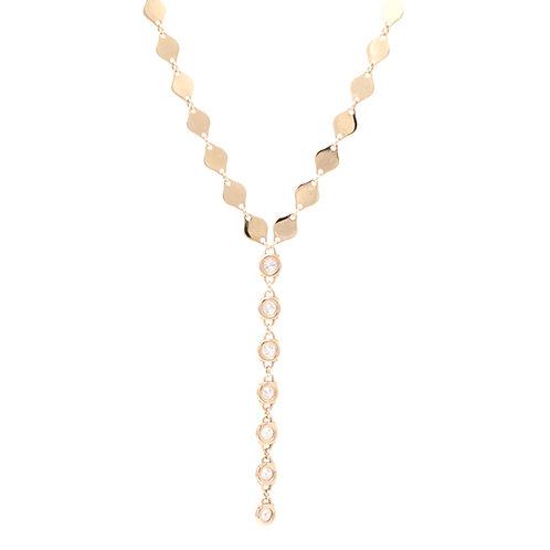 Diamond Sequin Lariat Necklace