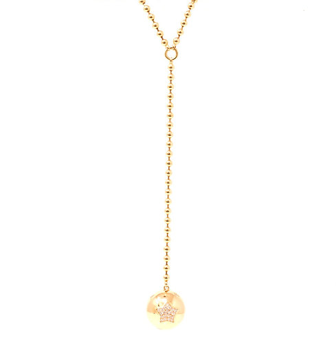 Diamond Moon and Star Lariat Necklace