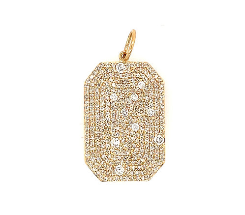 Large Mosaic Diamond Pave Dog Tag