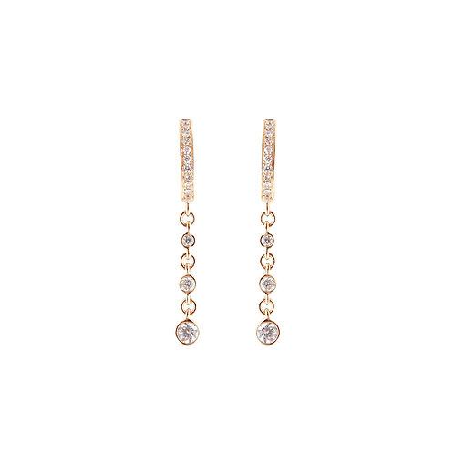 Diamond Bezel Chain Huggies