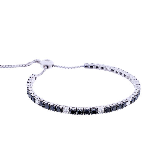 Black and White Diamond Bolo Bracelet