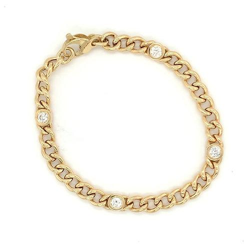 Diamond Bezel Link Bracelet