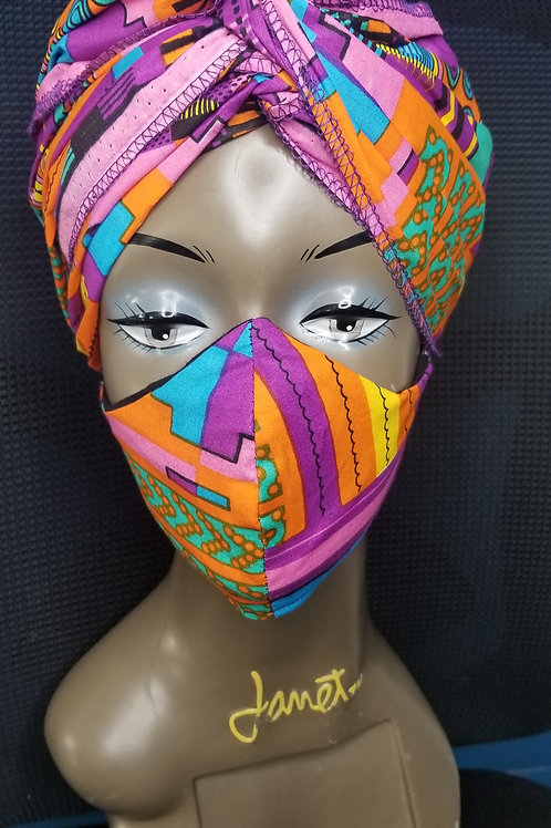 Pink Kente wrap with N95 mask