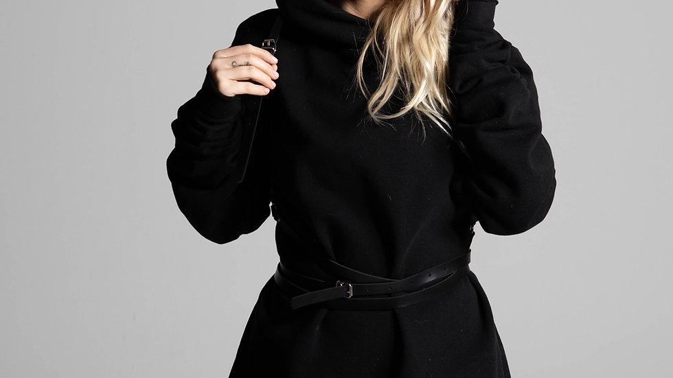 black hood dress