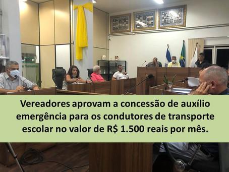 TURMALINA – CÂMARA APROVA AUXÍLIO EMERGENCIAL PARA MOTORISTAS.