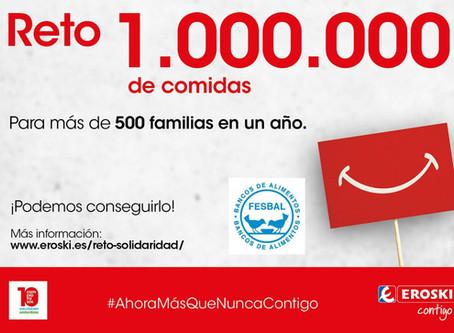 APÚNTATE AL RETO SOLIDARIO DE EROSKI DE UN MILLÓN DE COMIDAS PARA LOS MÁS DESFAVORECIDOS
