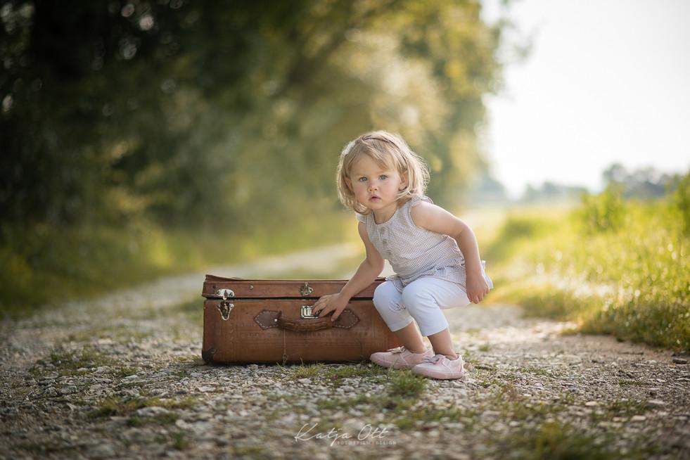 Familienfotografie, Kind, Natur, Foto, Koffer