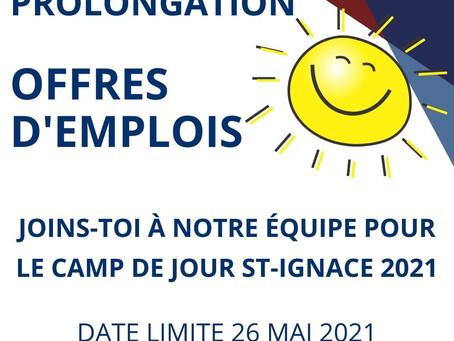 PROLONGATION OFFRES D'EMPLOIS CAMP DE JOUR 2021