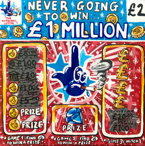 NEVER GOING TO WIN £1MILLION, 29.5cm x 29.5cm, Acrylics on Canvas, 2021 - SOLD