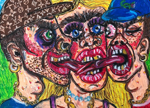 THREESOME, 38cm x 28.5cm, Oil Pastel on Paper, 2020 - SOLD