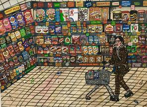 BOGOF, 102cm x 76cm, Acrylic on Canvas, 2020 - £150 (currently for sale at the Westend Centre, Aldershot)