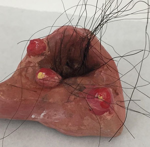 HAIRY HOLE 2, 6.5cm x 3cm, Clay and Synthetic Hair, 2019 - NOT AVAILABLE FOR PURCHASE