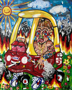 PULL UP IN THE COZY COUPE, 51cm x 40cm, Acrylics and Oils on Canvas, 2021 - currently for sale on Artsy.net (until 3rd Sept)
