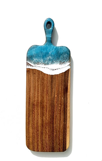 Large turquoise charcuterie board with handle