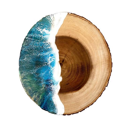 Ocean Wood Round with Bark Edge