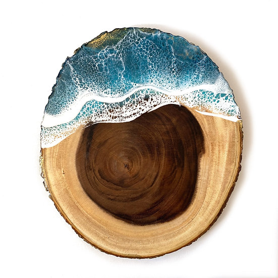Ocean Wood Round with Gold Edge